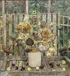 Olwyn Bowey RA, 167 - SUNFLOWERS CRAB APPLES & CONKERS