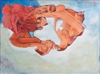 Bryan Kneale RA, 391 - UNTITLED (BLUE AND BURNT ORANGE)
