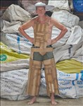 Raphael Bliss, 907 - 'HOW TO CUT CARDBOARD AND LOOK LIKE A COWBOY' FROM THE SERIES '30 MINUTE COSTUMES'. ALL COSTUMES WERE CREATED FROM REPURPOSED OBJECTS AND UPCYCLED MATERIALS.
