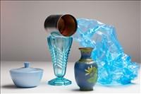 Peter Abrahams, 1114 - BLUE GLASS, PLASTIC, CLOISONNÉ AND TIN