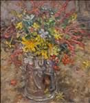 Diana Armfield RA, 1236 - SEPTEMBER FLOWERS IN THE TANKARD