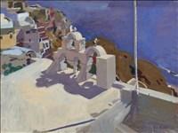 Ken Howard RA, 333 - THE DEEP BLUE SEA, DIA, SANTORINI